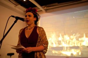 Artist and Writer Katelan Foisy Reads at Fireside FolliesPhoto by Katarina Hybenova