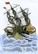 Giant octopus attacking a sailing ship in medieval times