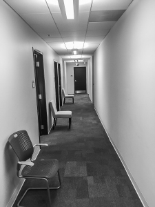 "The hallway where actors wait before being ""seen"". New Orleans, 12/15/2014. Format: digital via iPhone."