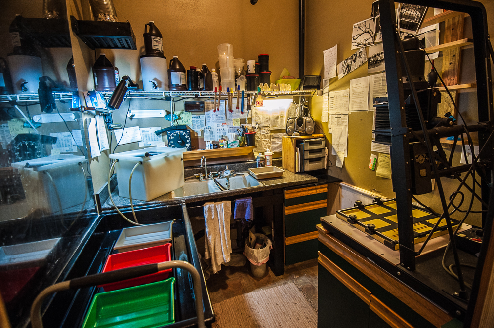 My darkroom.  My refuge.  This area used to be a walk-in closet.  So much for clothes.