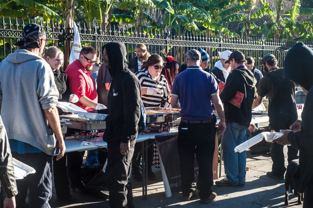 Volunteers from NOVA serving anyone who is hungry.  Jackson Square, New Orleans.  12/25/2014