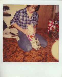 The author with gift and a kitty.  I've forgotten her name.  Circa 1982.